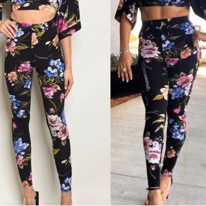 Black blue and purple floral leggings, NEW!